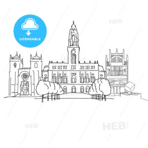 Porto Portugal outline sketch - HEBSTREITS