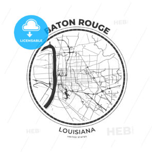 T-shirt map badge of Baton Rouge, Louisiana - HEBSTREITS