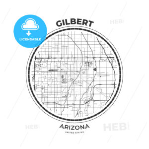 T-shirt map badge of Gilbert, Arizona - HEBSTREITS
