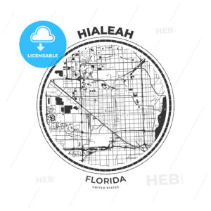 T-shirt map badge of Hialeah, Florida - HEBSTREITS
