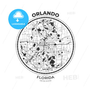 T-shirt map badge of Orlando, Florida - HEBSTREITS
