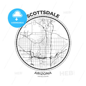 T-shirt map badge of Scottsdale, Arizona - HEBSTREITS