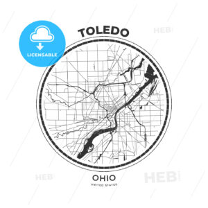 T-shirt map badge of Toledo, Ohio - HEBSTREITS