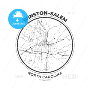T-shirt map badge of Winston–Salem, North Carolina - HEBSTREITS