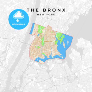 Vector map of The Bronx, New York, USA - HEBSTREITS