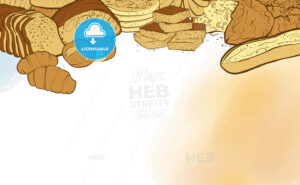 bakery breads banner with watercolor background - HEBSTREITS