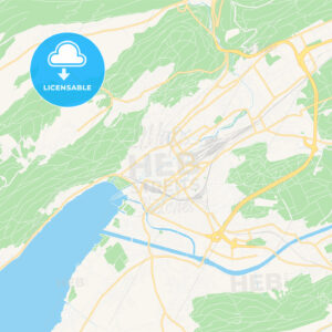 Biel/Bienne, Switzerland Vector Map – Classic Colors - HEBSTREITS Sketches