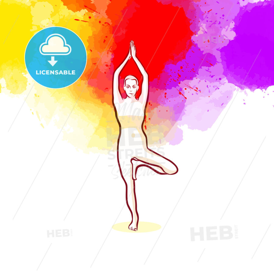 Creative Tree Pose Vrikshasana Yoga Pose - HEBSTREITS Sketches