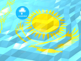 Flag of Kazakhstan 3D Wallpaper Illustration
