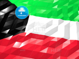 Flag of Kuwait 3D Wallpaper Illustration