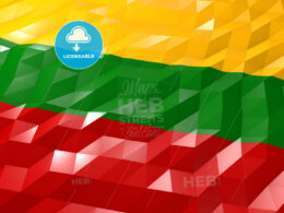 Flag of Lithuania 3D Wallpaper Illustration