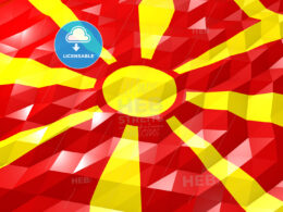 Flag of Macedonia 3D Wallpaper Illustration