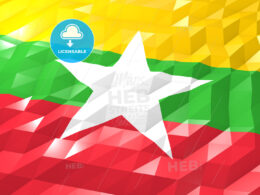 Flag of Myanmar 3D Wallpaper Illustration