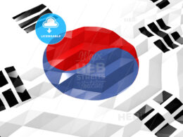 Flag of South Koreo 3D Wallpaper Illustration