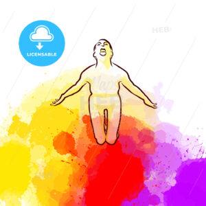 Scary Yoga Pose on colorful background - HEBSTREITS Sketches