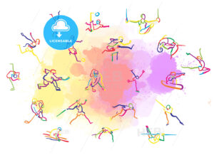 Set of Colorful Stickman Sports - HEBSTREITS Sketches