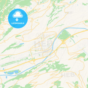 Sion, Switzerland Vector Map – Classic Colors - HEBSTREITS Sketches