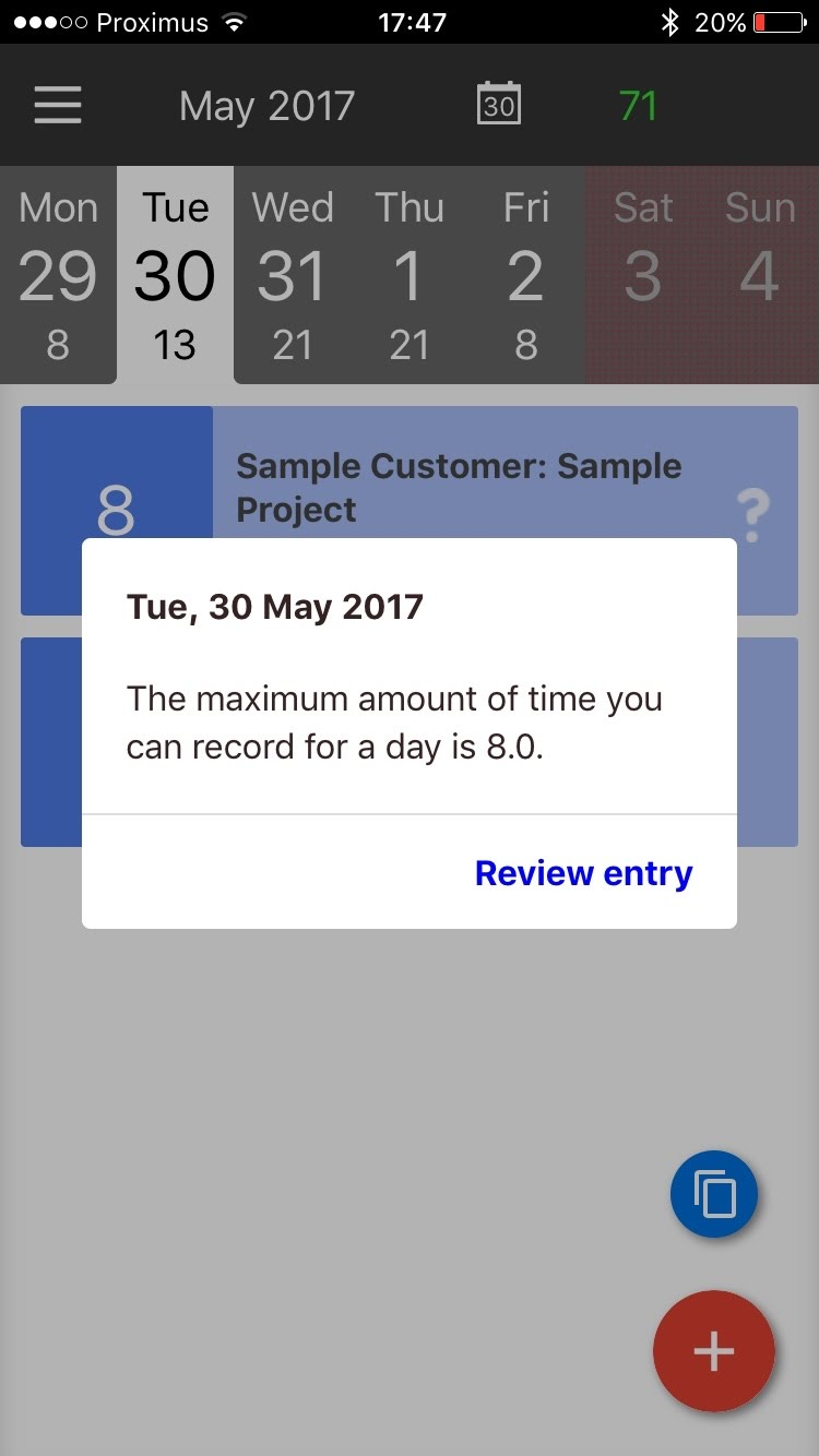 BeeBole Timesheet Mobile   BeeBole Help and Support     appear if an issue is found and they will keep appearing until all  issues found with time entries while the device was offline are solved  See  example