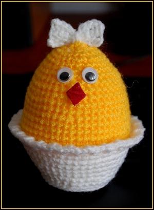 Pollo in un uovo all'uncinetto.