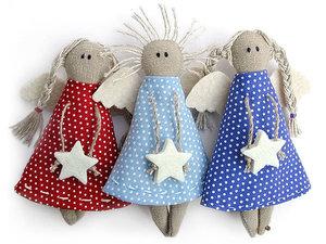 Новогодние ангелочки из ткани