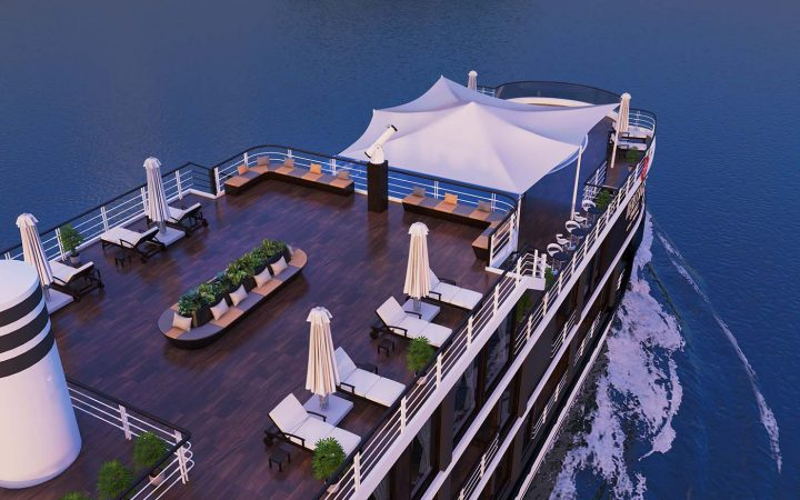 An aerial view of the front part of the sundeck, with sun loungers and parasols