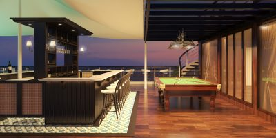 A pool bar on the sundeck with a snooker table