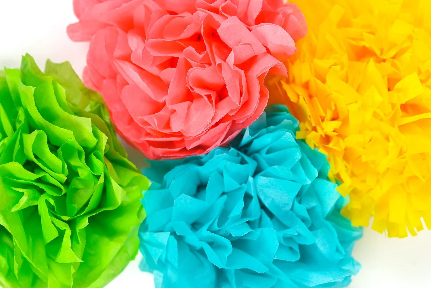Bright Tissue paper flowers - green, teal, red, and yellow
