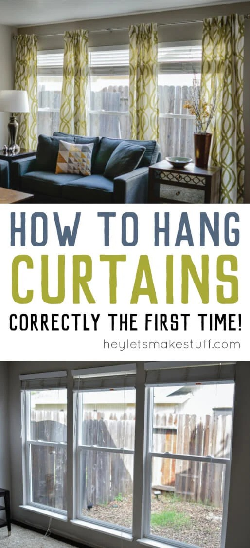 finished curtains hung on the wall in living room pin image