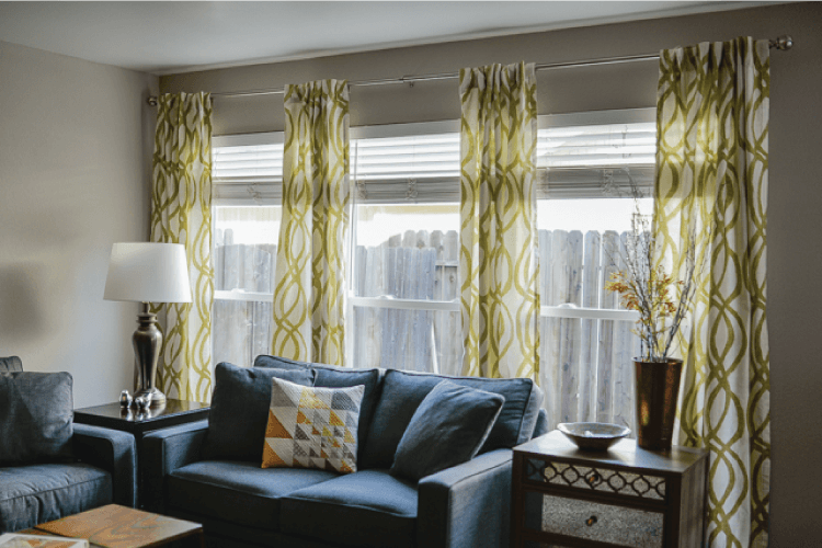 curtains hung in living room