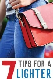 Clean out and organize your purse with these seven tips for carrying less in your bag.