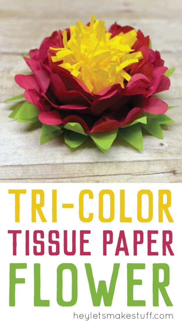 close up of finished tri-color flower using tissue paper pin image