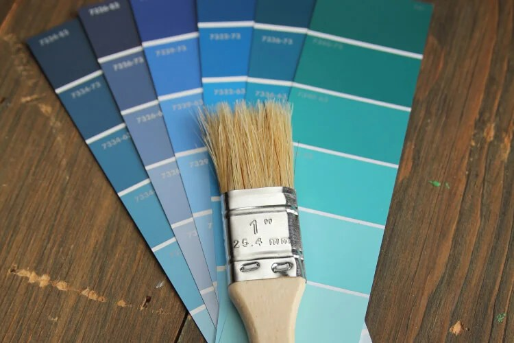 blue paint swatches with paintbrush