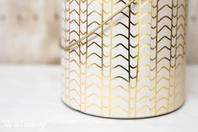 bottom closeup view of DIY ice bucket from upcycled paint can