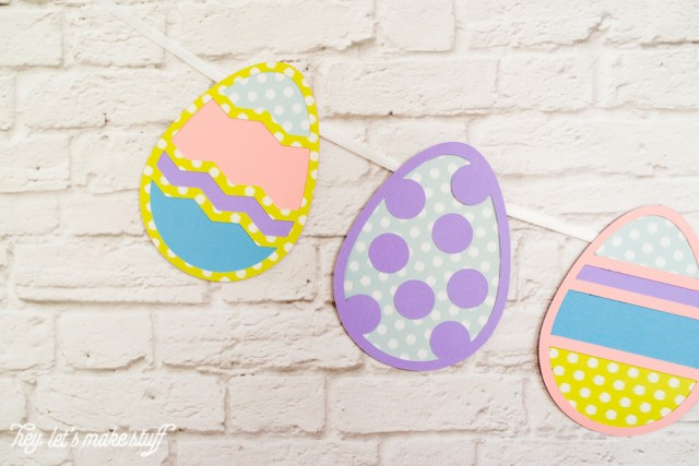 side view of Easter egg cut files hung as a banner