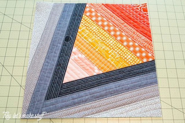 finished Go Fly a Kite QAYG finished quilt block