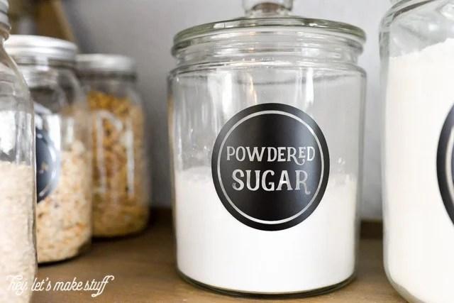 powdered sugar pantry label