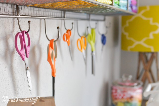 closeup of colorful scissors organized