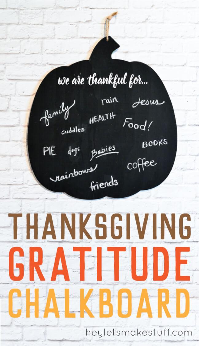 DIY gratitude chalkboard pumpkin pin image