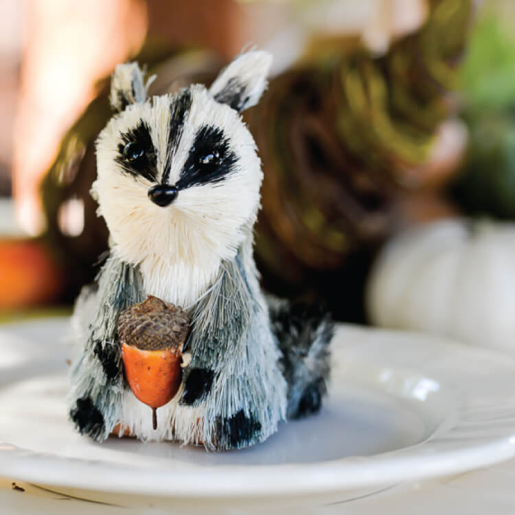 Woodland Friendsgiving table setup with raccoon