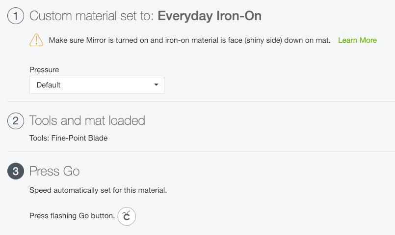 screenshot of Settings for using Iron On Vinyl