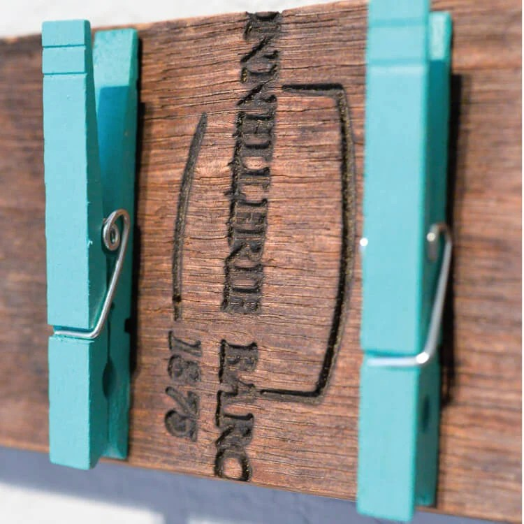 close up of DIY lost sock holder with clothespins