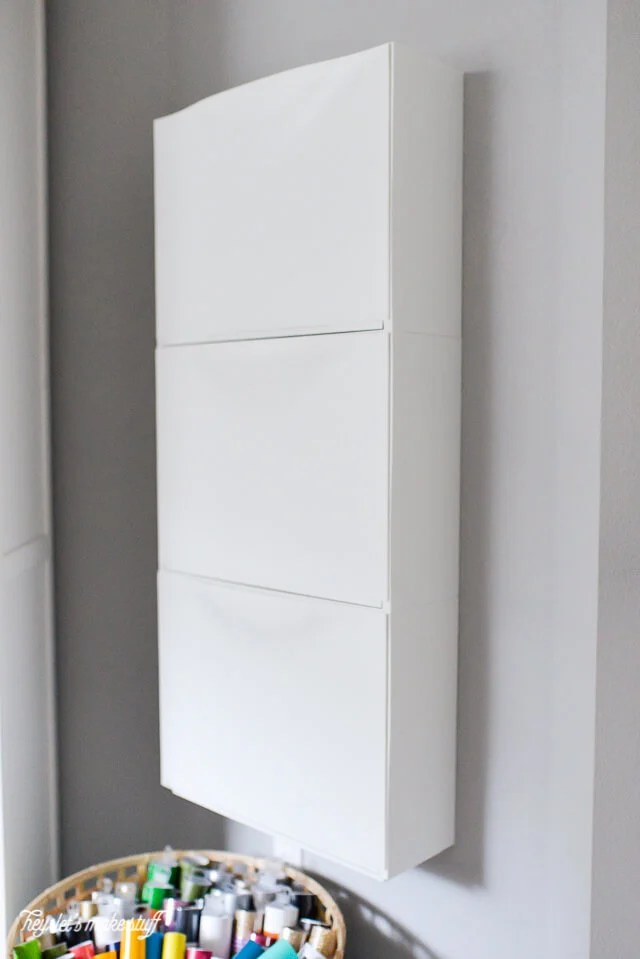 IKEA Trones Shoe Holders mounted to wall and stacked three high
