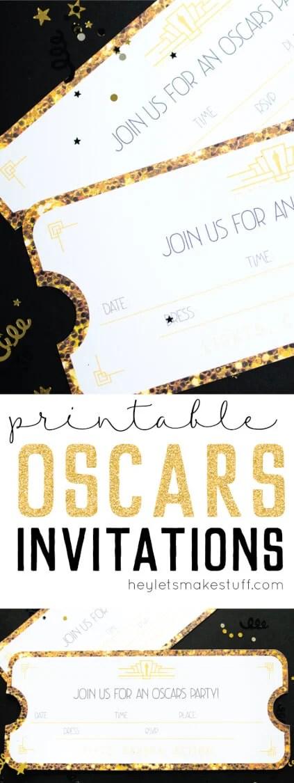 Oscars party printable invitations
