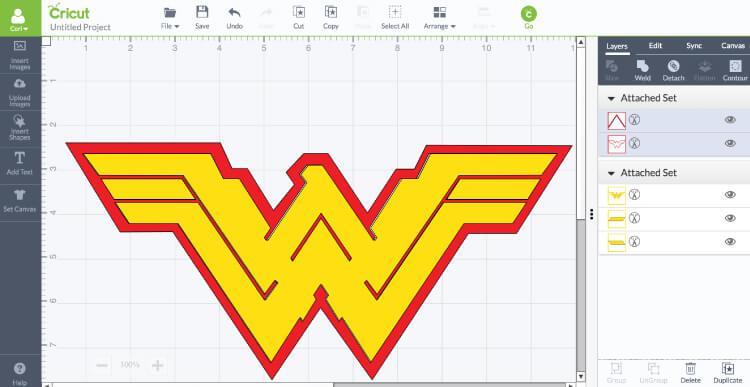 screenshot of wonder woman logo