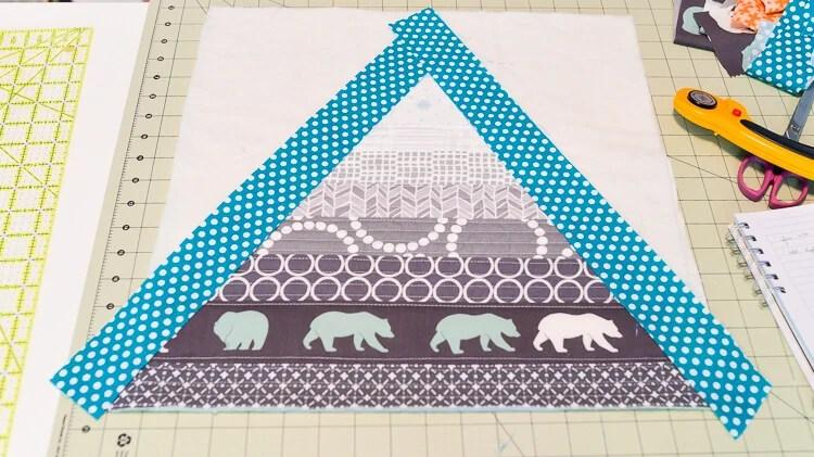 Bear Mountain quilt-as-you-go (QAYG) block step 7