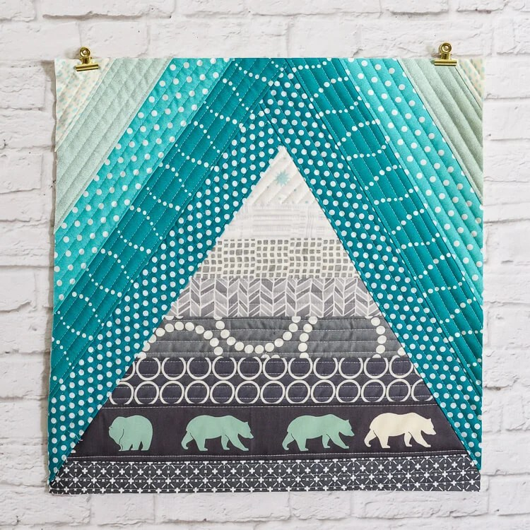 Bear Mountain quilt-as-you-go (QAYG) block