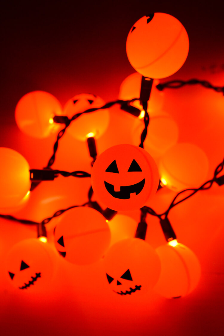 Orange ping pong balls plus fairy lights