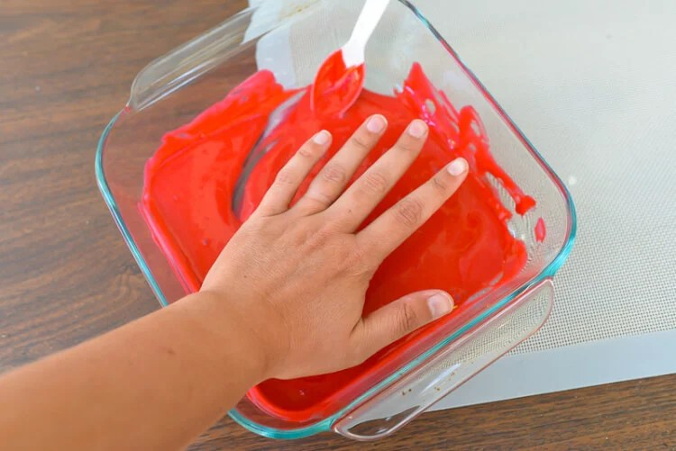 glue and food coloring to make bloody hand