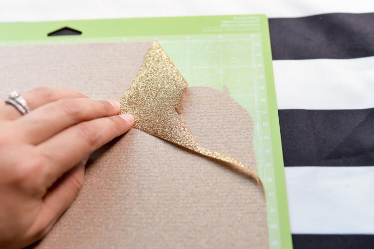 peeling glitter vinyl from Cricut mat