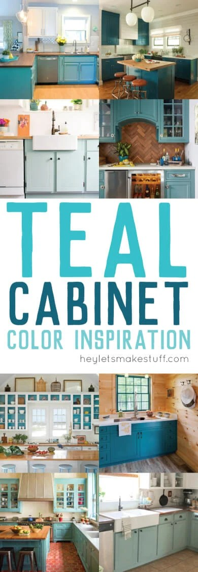 teal kitchen paint pin collage